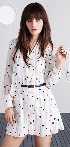 Darling dots! Zooey Deschanel modelling dress from her Tommy Hilfiger collection