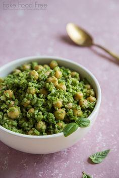 Cauliflower Rice with Basil-Spinach Pesto and Chickpeas Recipe | Vegan and Gluten Free | Fake Food Free