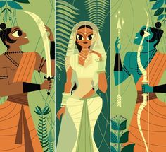 One of the better triptychs in the book, this one shows Rama's brother Lakshman (with a magical sword) on the left, Sita (in a golden sari) in the center, and Rama (with a divine golden arrow). Ramayana by Sanjay Patel by Aaron Britt Art And Illustration, Character Illustration, Illustrations Posters, Toy Story 3, India Art, Wall E, Indian Paintings, Abstract Paintings, Art Paintings