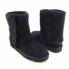 Uggs Crochet Black Sz 8