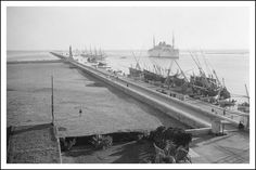 Ferdinand de Lesseps monument and the German Hamburg-Amerika line SS ...
