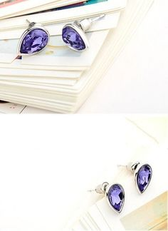 9K White Gold Filled Purple Crystal Teardrop Earrings Stud #Stud