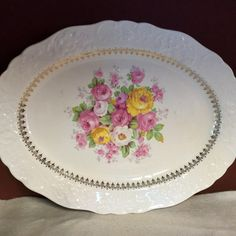 Vintage Edwin Knowles china platter circa 1936, pink and yellow roses. Shabby chic.