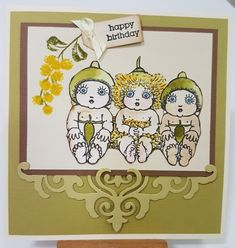 Gumnut Baby Trio | Art Attic Studio Man Birthday, Happy Birthday, Australian Christmas Cards, Baby Artwork, Australian Native Flowers, Studio Cards, Birthday Cards For Women, Paper Roses, Baby Cards