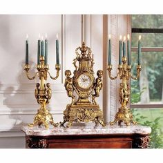 Design Toscano Clock And Candelabra Ensemble Beaumont Grand New #DesignToscanoInc