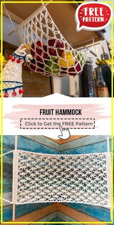Crochet Hammock, Crochet Fruit, Crochet Kitchen, Tree Skirts, Crochet Projects, Free Crochet, Crocheting, Free Pattern, Crochet Patterns