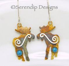 Moose Earrings Sterling Silver Patina by SerendipDesignsJewel, $54.00