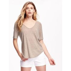 9dfcce7b4f3 Old Navy Relaxed Hi Lo Linen Blend Tee For Women ( 12) ❤ liked on