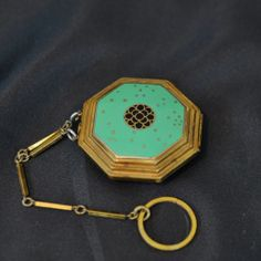"""1920'S Art Deco RICHARD HUDNUT """"Le Debut"""" Genuine Cloisonné Enameled Compact with Fold out Mirror and Original Finger Chain"""
