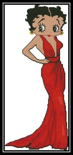 Betty Boop in Long Red Dress 2 - Cross Stitch Chart/Pattern/Design/XStitch