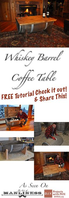 In this tutorial I will walk you through the process of building a whiskey barrel coffee table. I had a blast creating the table and it was a pretty simple and quick build. http://diypete.com/WhiskeyBarrel #woodworking #whiskeybarrel #coffeetable #DIY