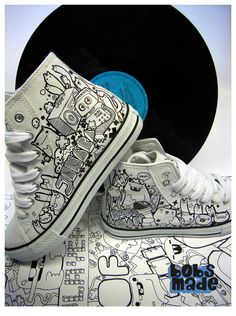 Bobsmade_shoes-JenAera by =Bobsmade on deviantART posca pen Painted Canvas Shoes, Custom Painted Shoes, Painted Sneakers, Hand Painted Shoes, Custom Vans Shoes, Custom Sneakers, Nike Custom, Doodle Shoes, Sharpie Shoes