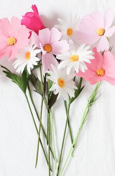 Set of 10 Paper Cosmos & Daisy Flower Mix Paper by APetalUnfolds                                                                                                                                                      More