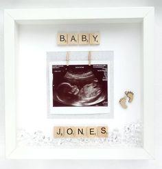 Pregnancy Scan 1st Photo Black 3 Aperture Frame Baby Shower Hospital Gift