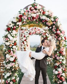 Photographer: Brandon Kidd Photography, Via Bloom Box; Romantic red and white flower green wedding ceremony chuppah; Wedding Isles, Mod Wedding, Trendy Wedding, Floral Wedding, Wedding Flowers, Dream Wedding, Wedding Album, Luxury Wedding, Garden Wedding