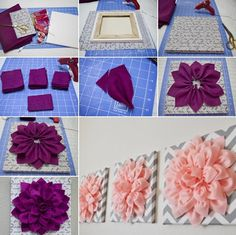 How to DIY Beautiful Felt Dahlia Flower Wall Art tutorial and instruction. Cute for baby girl room Diy Wall Art, Diy Wall Decor, Diy Art, Diy Nursery Decor, Flower Wall Decor, Felt Flowers, Diy Flowers, Fabric Flowers, Flower Diy