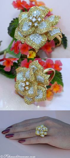 Fabulous Flower Ring with Fancy Yellow & White Diamonds | 2.35 ct. | Yellowgold 18k - schmucktraeume.com Like: https://www.facebook.com/Noble-Juwelen-150871984924926/