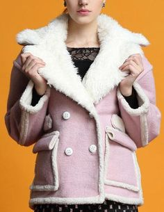 Double-Breasted Fur Collar Bomber Jacket in Pink