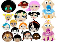 Various people portrait vector graphics Cute Cartoon Girl, Cute Cartoon Characters, Disney Characters, Vector Graphics, Vector Free, Portrait Vector, Illustration, Mickey Mouse, Clip Art