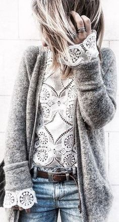Lace top, wool sweater, distressed jeans - add a cool belt and stackable rings. Totally stylish winter outfit