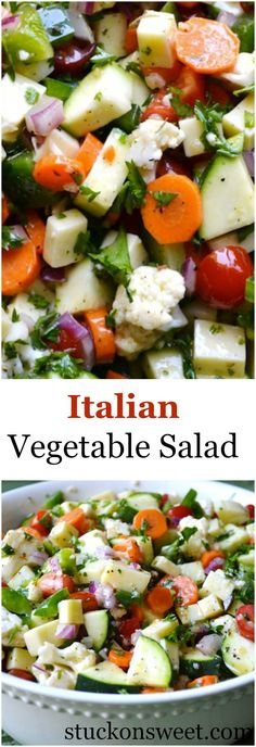 Healthy Recipes Italian Vegetable Salad - Italian Vegetable Salad is full of delicious vegetables like zucchini, tomatoes, carrots, cauliflower and tossed with a flavorful vinaigrette! Vegetable Recipes, Vegetarian Recipes, Cooking Recipes, Healthy Recipes, Vegetable Samosa, Vegetable Tian, Vegetable Pizza, Cold Vegetable Salads, Vegetable Appetizers