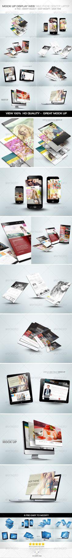 Mock Ups Display Tablet, Mobile, Laptop, Desktop - Displays Product Mock-Ups