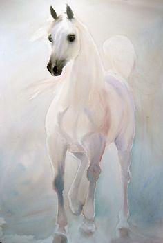 Beatrice Bulteau - #watercolor #horses - Arabian White http://www.beatricebulteau.com/main.html
