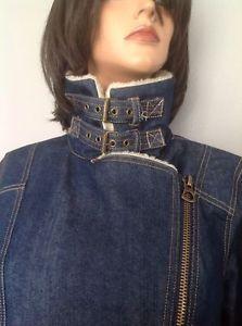 Jacket Jeans Denim Forever 21 Fashion Faux Fur Unique Style L Hip Chic | eBay