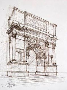 Arch of Titus History of art Architecture Antique, Architecture Drawing Art, Architecture Sketchbook, Ancient Greek Architecture, Arte Sketchbook, Art Sketches, Art Drawings, Arch Of Titus, Interior Design Sketches