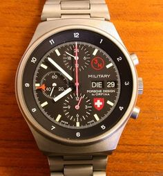 """Research project: Orfina/Porsche-Design """"MILITARY"""" chronograph dial variations Old Watches, Watches For Men, Nato Strap, Porsche Design, Chronograph, Bracelet Watch, Mens Fashion, Black Opal, Clocks"""