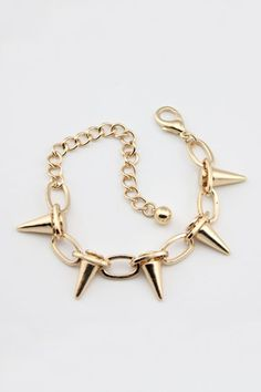 The bracelet crafted in alloy, featuring chain with spike embellishment, adjustable slim chain with clasp fastening.