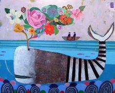 New Work - Spring Whale, mixed media Nathaniel Mather Kids Room Art, Art For Kids, Whale Art, Naive Art, Fish Art, Whimsical Art, Art Plastique, Painting Inspiration, Tattoo Inspiration