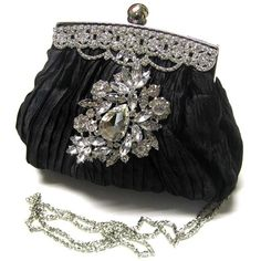 OOAK HANDMADE VICTORIAN SWAROVSKI EVENING BAG CLUTCH, BRIDESMAIDS... ($75) ❤ liked on Polyvore featuring bags, handbags, clutches, purses, hair, black purse, silver purse, black handbags, evening bags and silver evening handbag