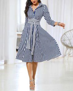 Striped Long Sleeve Knot Waist Shirt Dress - c. Dresses For Teens, Cute Dresses, Dresses Online, Vintage Dresses, Striped Dress Outfit, Dress Outfits, Fashion Dresses, Dress Casual, Long Casual Dresses