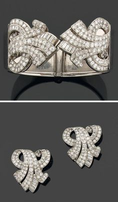 Diamond platinum bracelet/double clip brooch, Mauboussin, circa 1937. The rigid bracelet mounted with two ribbon motif clips set with baguette and round diamonds, mounted in platinum. The two clips can be removed and be worn individually. Unsigned. Numbered. #Mauboussin #ArtDeco