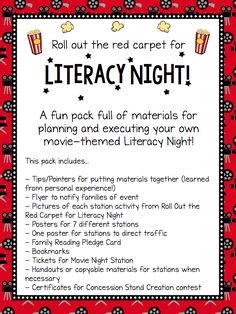 Literacy Night K Common Core Literacy Pinterest Literacy - Family reading night flyer template
