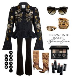 """""""Dark Florals"""" by im-karla-with-a-k ❤ liked on Polyvore featuring Chloé, Simmons, Bobbi Brown Cosmetics, Stuart Weitzman, Frame and Erdem"""