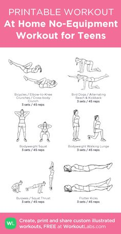At Home No-Equipment Workout for Teens – my custom workout created at WorkoutLabs.com • Click through to download as printable PDF! #customworkout