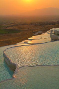 Sunset in Natural Rock Pools, Pamukkale Turkey