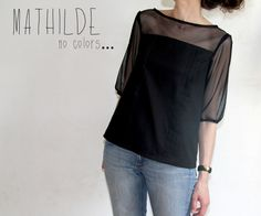 Sheer sleeved black Mathilde by Julie- Love this variation. Have made 4 versions of this pattern and another 30 in my head!