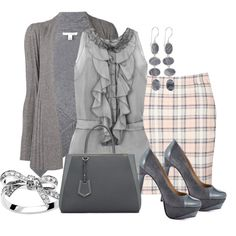 Boohoo Marcie Pastel Check Bodycon Mini Skirt by aannggiiee on Polyvore featuring moda, Autumn Cashmere, Oscar de la Renta, Boohoo, Paris Hilton, HEATHER BENJAMIN and Fendi