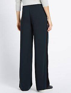 Wide Single Side Stripe Trousers #trousers #leggings #skinny #women #woman #fashion #style #marksandspencer #kadın #pantolon #mscollection #autograph #peruna #limitededition #wideleg #slimleg #straightleg