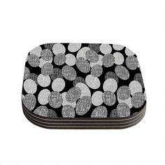 """Jacqueline Milton """"Seeds - Monochrome"""" Black White Coasters (Set of 4)"""
