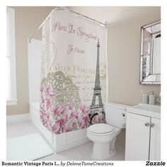 Shop Romantic Vintage Paris In Springtime Eiffel Tower Shower Curtain created by DeleneTameCreations. Bathroom Curtain Set, Diy Bathroom Decor, Bathroom Styling, Bathroom Ideas, Shower Ideas, Bedroom Decor, French Bathroom, Brown Bathroom, Bathroom Pink