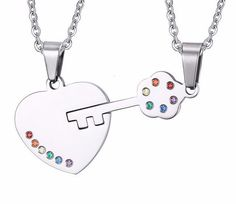 Stainless Steel Heart & Key Pendant & Necklace Set