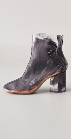 Margiela black paint - smeared ankle boot #minimalist #fashion #style