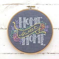 Designed and packaged by iHeartStitchArt, this embroidery pattern comes in a complete kit with thread and linen. Welcome Home! Each kit contains: - A natural linen panel, complete with a hand-printed