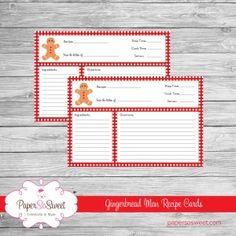 Paper So Sweet - Celebrate in Style - Printable Gingerbread Man Recipe Card Printable Scrapbook Paper, Recipe Cards, Gingerbread Man, Christmas Decor, Christmas Cards, Jul, Christmas E Cards, Christmas Charts, Ginger Man