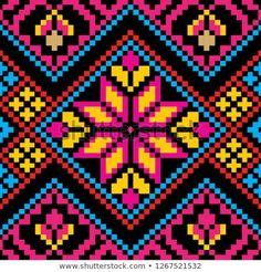 Toraja Design Seamless of Indonesian Style Tapestry Crochet Patterns, Crochet Quilt, Crochet Stitches Patterns, Loom Patterns, Quilt Patterns, Cross Stitch Borders, Cross Stitch Rose, Cross Stitch Designs, Cross Stitch Patterns
