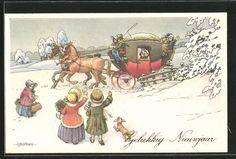 Künstler-AK A. Bertiglia: Gelukkig Nieuwjaar, Kinder winken Postkutsche 0